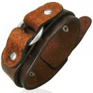 Genuine Steel Ring Brown Cuff Leather Bracelet