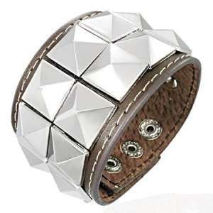 Studded Brown Leather Cuff Bracelet