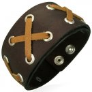 Genuine Brown Laced Leather Cuff Bracelet