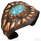 Genuine Brown Leather Weave Wristband Cuff Bangle w/ Turquoise