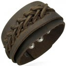 Genuine Braided Cuff Leather Snap Bracelet