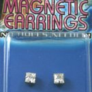 Non Piercing Square Fake Magnetic Piercing Earrings with Clear CZ