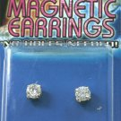 Round Fake Magnetic Piercing Earrings with Clear CZ