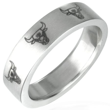 Stainless Steel Bull Head Band Ring - Size 10