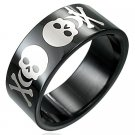 Black Stainless Steel Skull Ring Size 11