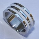 Stainless Steel Ring with white Stripes - Size 9
