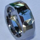 Faceted Tungsten Carbide Diamond Cut Band Ring Size 7.5