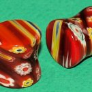 Pair Reddish Saddle Glass Plugs 1/2 Gauge 12.7mm
