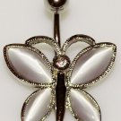 Clear CZ Butterfly Steel Navel Belly Ring