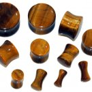 Pair of Organic Tiger Eye Stone Saddle Ear Plugs 4G