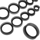 Pair of Black Ear Skin Silicone Tunnel Plugs 2G, 6mm