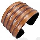 Genuine Brown Ribbed Leather Bangle Bracelet