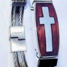 Stainless Steel Cross Wristband Bracelet Size 7