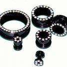 Pair Acrylic Black Flesh Tunnels plugs with Clear stones 3/4-19mm