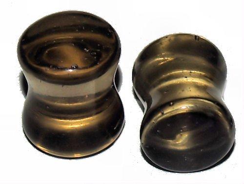 Pair Smoke Murano Glass Saddle Ear Plugs 00 Gauges 10mm