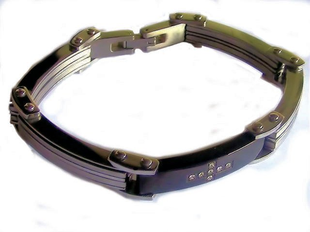 Steel Black Id Bracelet with CZ Cross Size 8 1/2