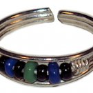 Silver Bead Toe Ring Blue Black and Green