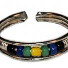 Silver Bead Toe Ring Black Green and Yellow