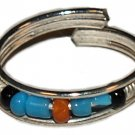 Silver Bead Toe Ring Black,Blue Orange