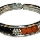 Silver Bead Toe Ring Black and Orange