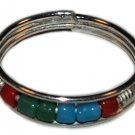 Silver Bead Toe Ring Red Green and Blue