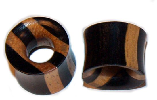 Pair Organic Ebony Areng Wood Tunnel Plugs 1/2 Gauges,12.7mm