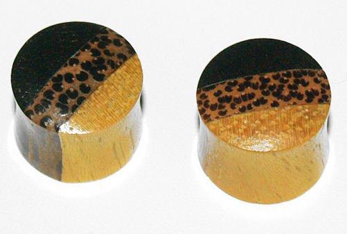 Pair Coco Areng Wood Saddle Plugs 1/2Gauges,12.7mm
