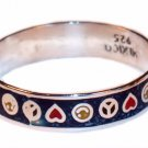 Silver Band Blue Peace and Hearts Toe Ring
