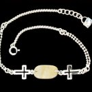 Silver Bracelet Little Beads and Cross 8.5 Inches