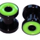 Pair of Green Acrylic Flesh Tunnel Plugs 4 gauges 5mm