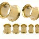 Golden Titanium  Flesh Tunnel Plugs  Ear 4Gauges  5mm-Pair