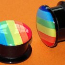 Pair Gay Pride Rainbow Screw On Ear Plugs 5/8  16mm Gauges