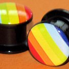 Pair of Acrylic Gay Pride Rainbow Saddle Plugs 7/16  11.2mm