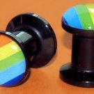 Pair of Gay Pride Rainbow Screw On Ear plugs 2 gauges  6mm
