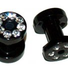 Pair CZ Black Acrylic Tunnel Ear Plugs 6 Gauge or 4mm
