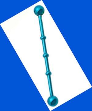 Blue Neon Bamboo Ear Industrial Barbell 14 Gauge