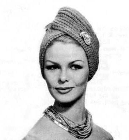 Vintage Knit Knitted Turban Hat PDF Pattern