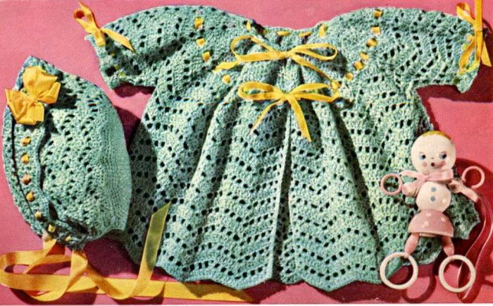 Dew Drop Wrap Free Crochet Pattern : Vintage Crochet Baby Chevron Sweater Bonnet Knit Dew Drop ...