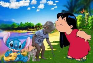 16x20 Customized Lilo & Stitch Poster Featuring your child's picture on Vinyl