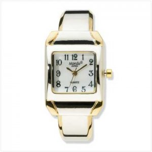 Two Tone Cuff Bracelet Watch
