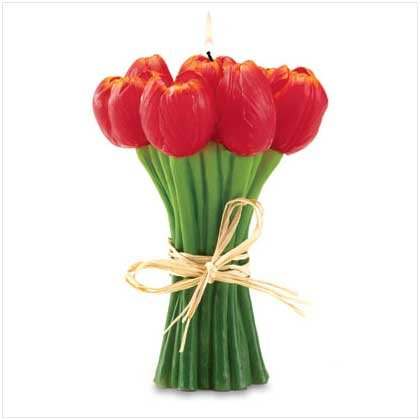 Red Tulips Candle