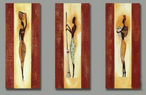 Hand-painted Modern Abstract Africa Girl  Figure Art Oil Painting On Canvas