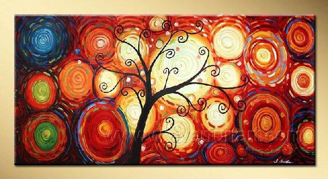 A Smiling Tree~ Framed! Modern Wall Decor Art Landscape Huge Oil Painting On Canvas LA1-034