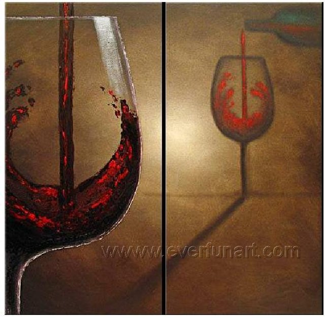 Huge Mordern Wine Art Wall Decor Canvas Oil Painting (+ Frame) XD2-037