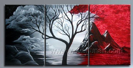 Growing Tree ~Hot! Nice Landscape Oil Painting (+ Frame) LA3-060