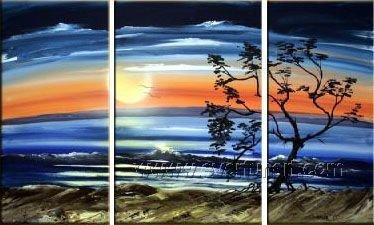 Wait for the Sun! Hot! Nice Landscape Oil Painting (+ Frame) LA3-116