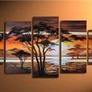 Hot Sell 5 pieces of Summer Tree! Handpainted Landscape Oil Canvas Art (+Frame) LA5-003