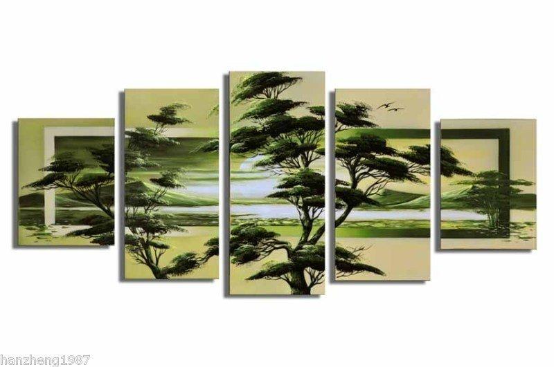 New Design Green Tree~Handpainted Landscape Oil Canvas Art (+Frame) LA5-004