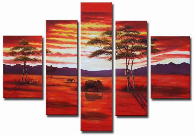 Red Sunset! Handpainted Landscape Oil Impressionist Art Canvas Painting (+Frame) LA5-010