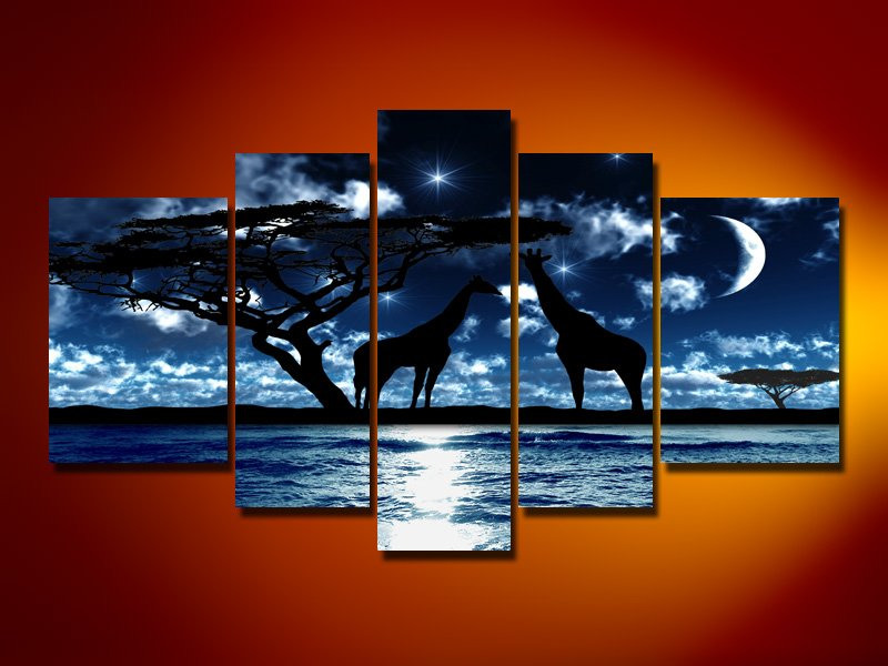 Touch The Moon! Handpainted Landscape Oil Impressionist Art Canvas Painting (+Frame) LA5-030